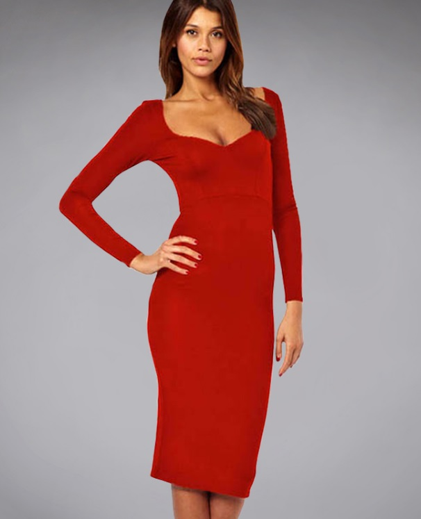 vestido-tubinho-decotado-manga-comprida-vermelho