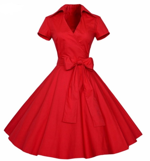 vestido-retro-vermelho-midi-manga-curta