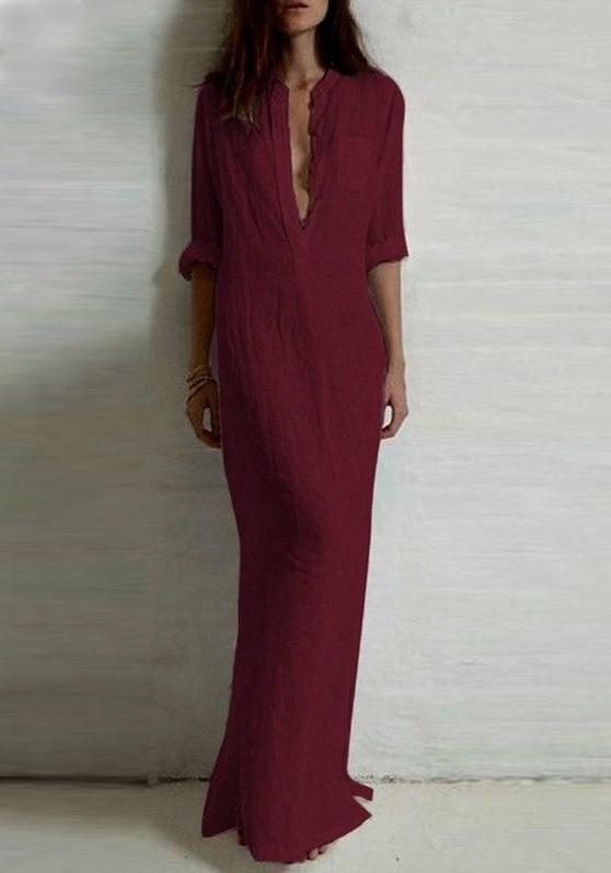 vestido-longo-minimalista-estilo-blusao-vinho