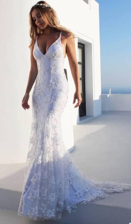 Vestido Longo Branco p/ Noivas Bordado