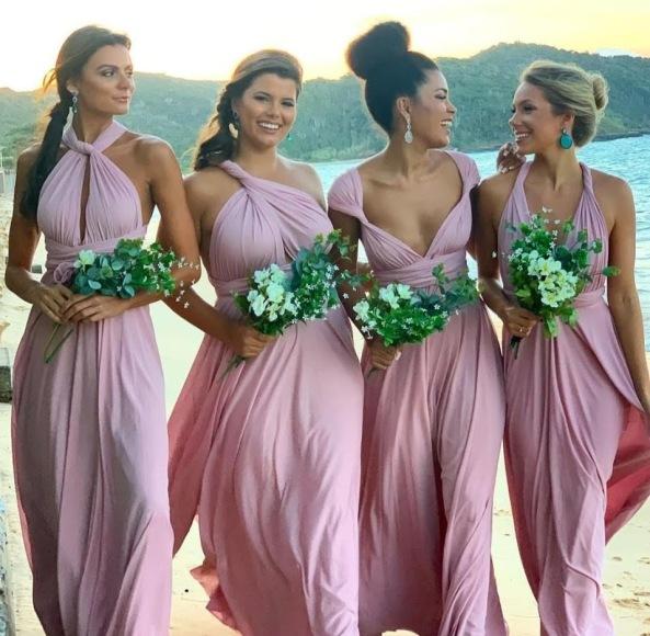 Vestido longo de festa amarrações rosé