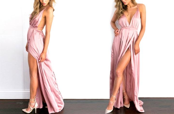 Vestido longo de festa costas nuas de cetim rosé