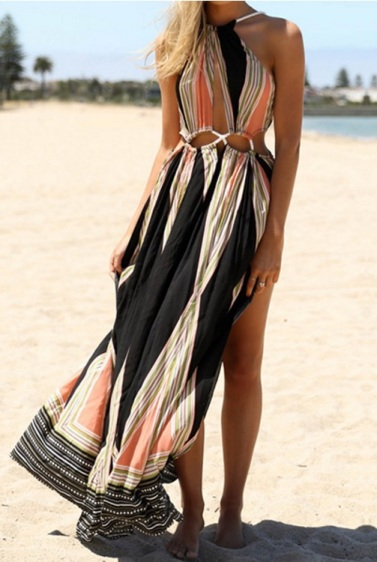 vestido longo estampado saída de praia fendas decote