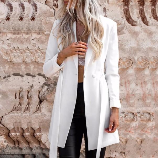 blazer feminino branco longo