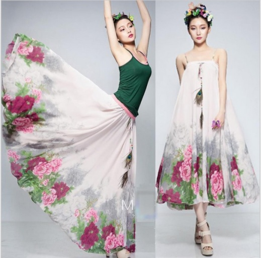 Vestido midi ou saia longa floral