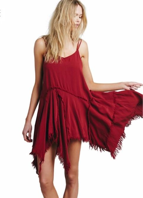 vestido boemio assimetrico vermelho terracota