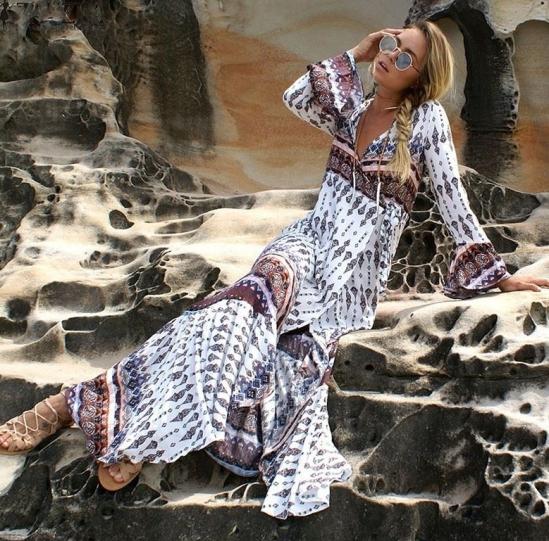 vestido étnico boho de manga longa branco vinho 2