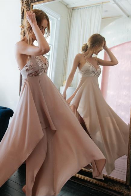 vestido de festa rosé de paetes assimétrico (8)