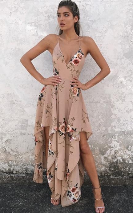 Vestido Floral Assimétrico bege (7)