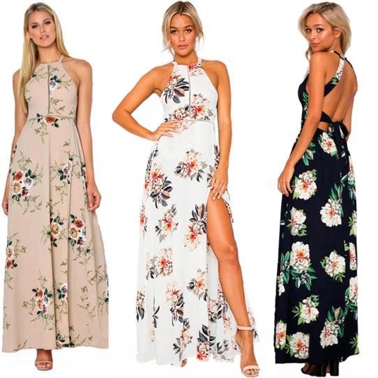 Vestido Longo Floral com fenda