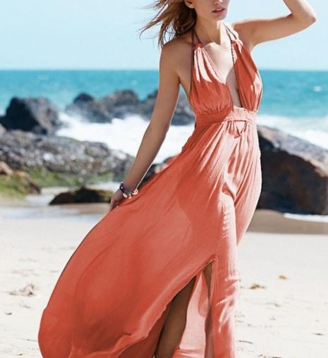 Vestido Longo Decote Profundo Costas Nuas