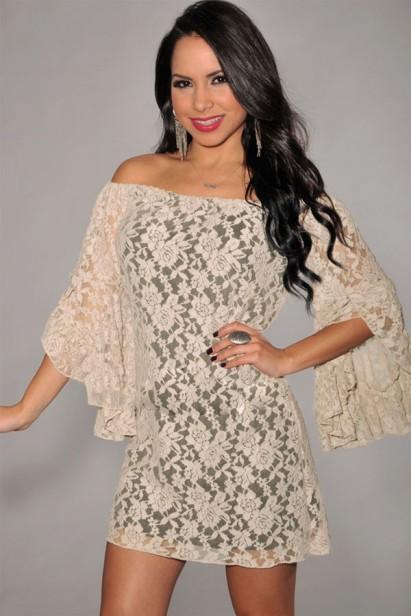 vestido de festa de renda manga com babados ombo a ombro
