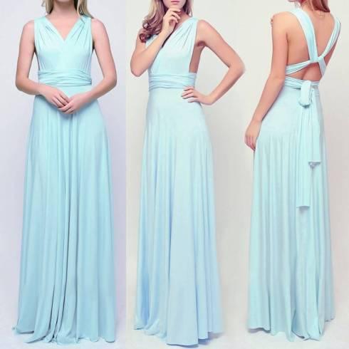 vestido longo de festa alças de amarrar azul claro madrinha