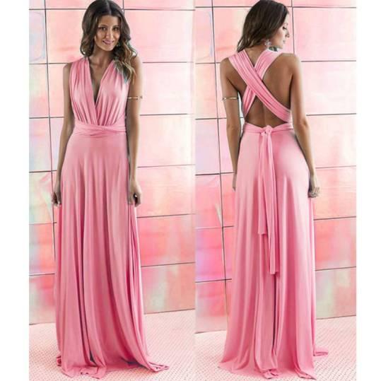 vestido longo de festa alças de amarrar rosa pink