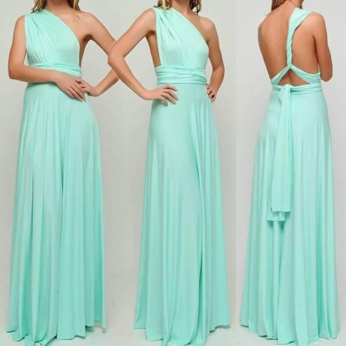 vestido longo de festa alças de amarrar verde claro casamento