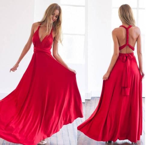 vestido longo de festa alças de amarrar vermelho madrinha