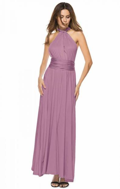 vestido longo de festa alças de amarrar roxo