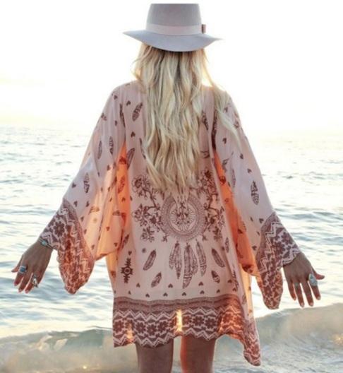 kimono feminino estampado look praia