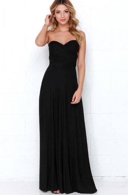 Vestido longo de amarrações tomara que caia preto