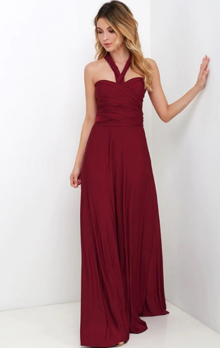 Vestido de festa longo alças de amarrar vinho marsala
