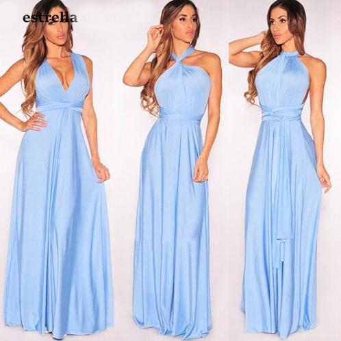 vestido longo de festa casamento alças de amarrar azul serenity