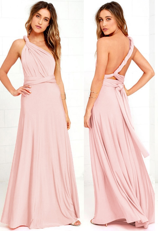 Vestido longo de festa madrinhas rosa chá