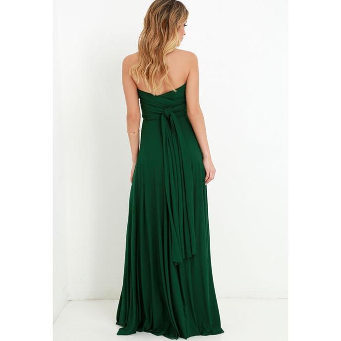 Vestido longo de festa madrinha verde escuro