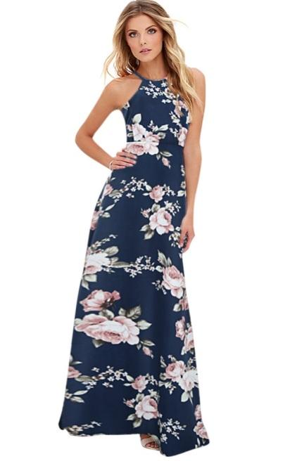 vestido longo floral evase estampado
