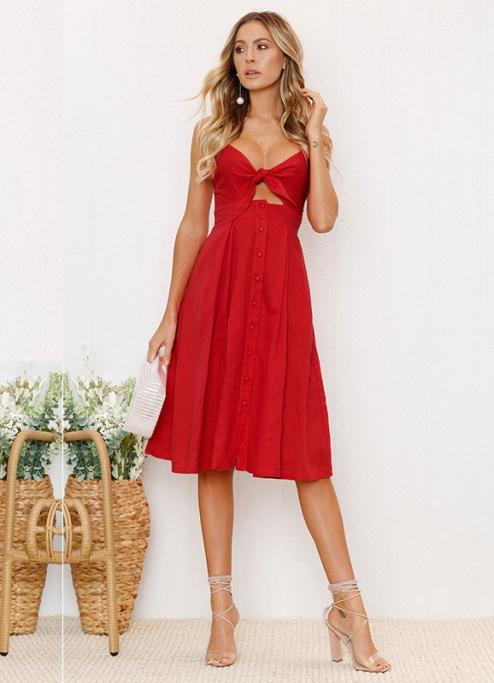 Vestido Midi Vermelho Linho Laço no Decote