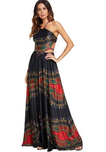 vestido longo preto estampado cintura vazada costas nuas