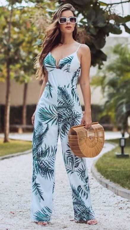 macacão estampado feminino tropical branco alcinha