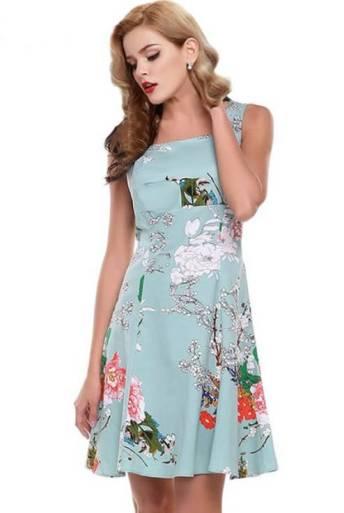 Vestidos Florais Retrô Midi Saia Godê