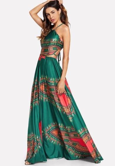 Vestido Estampa Ornamentada Fenda na Cintura Costas Amarração