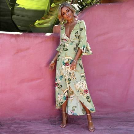 Vestido Estampado Túnica Transpassado Fenda Frontal