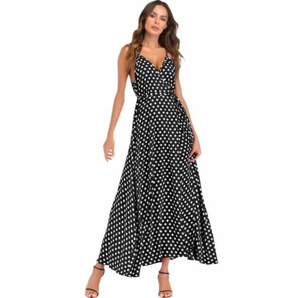 Vestido Bolinhas c/ Cinto Transpassado e Rodado