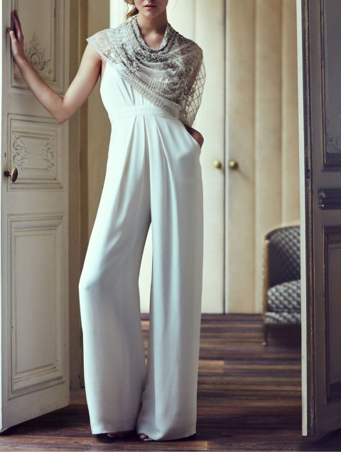 Macacão Longo Branco calça pantalona