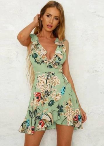 Vestido Floral Wrap Dress Babados