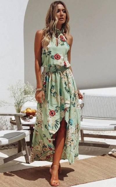 Vestido Longo Floral Decote Vazado c/ Gola