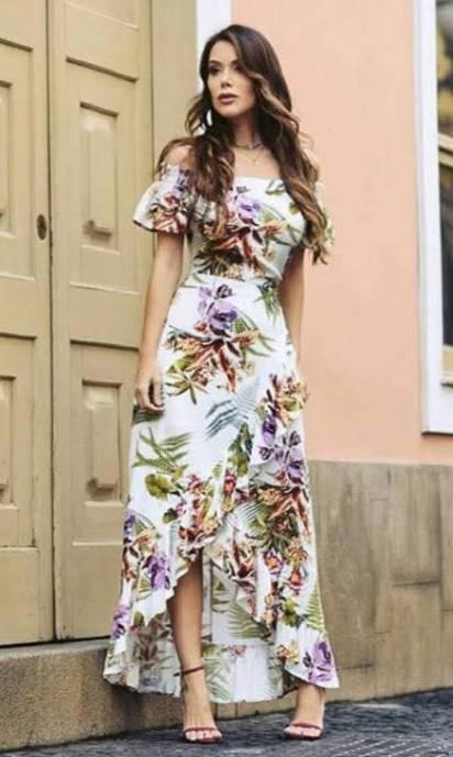 Vestido Longo Floral Ombro a Ombro Assimétrico