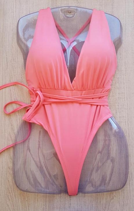 Body de alças longas de amarrar rosa coral