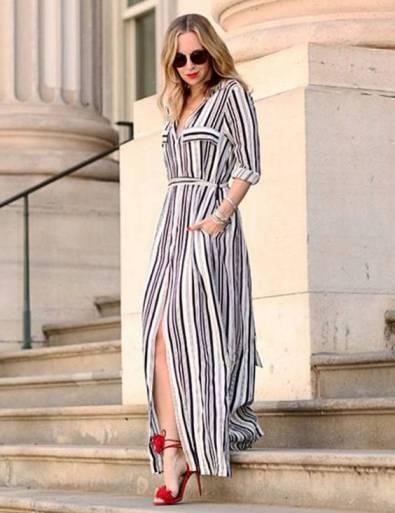 vestido longo listrado social