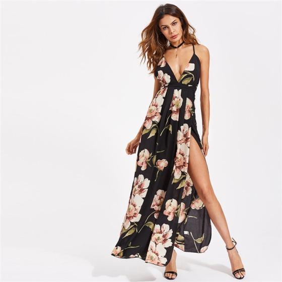 Vestido Longo Floral com fenda lateral