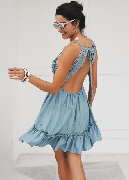 Vestido Renda Crochê Costas Nuas
