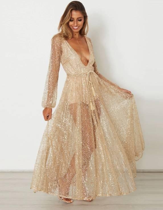 Vestido Longo Dourado Transparente c/ Body