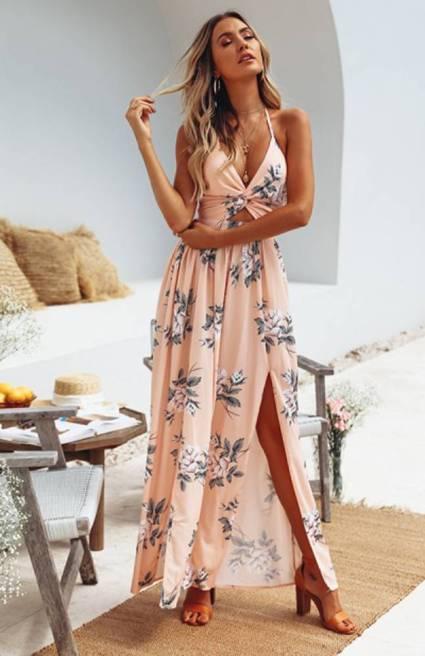 Vestido Longo Floral Vazado Fendas