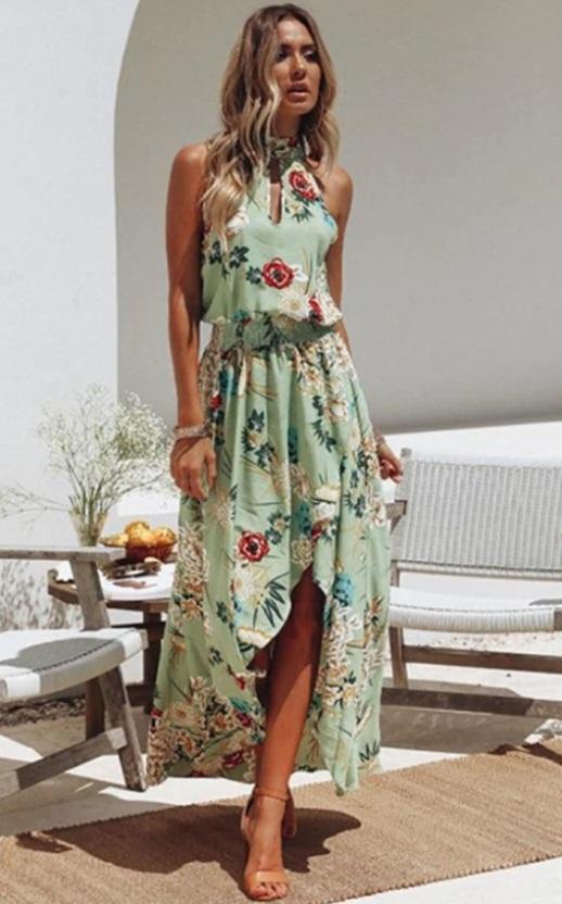Vestido Longo Verde Floral Assimétrico
