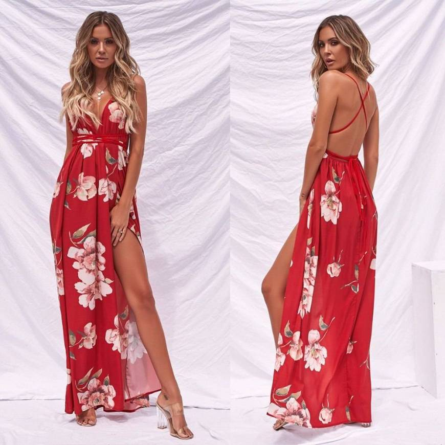 Vestido Floral Decote Profundo Costas Nuas