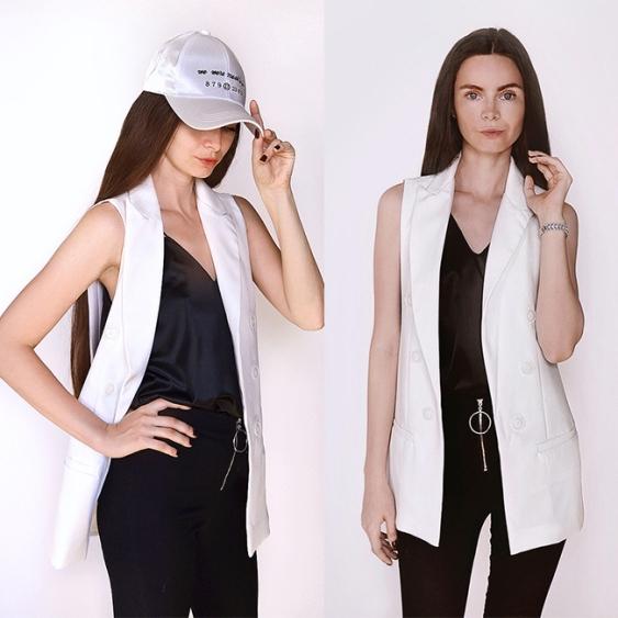 Colete Feminino Longo Branco Slim