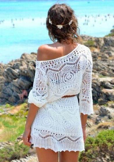 Vestido Renda Crochê Decote Ombro a Ombro