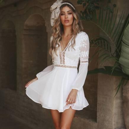 Vestido Renda Transparência Branco Curto